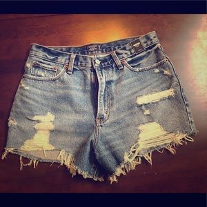 Abercrombie Jean shorts. High Rise short.